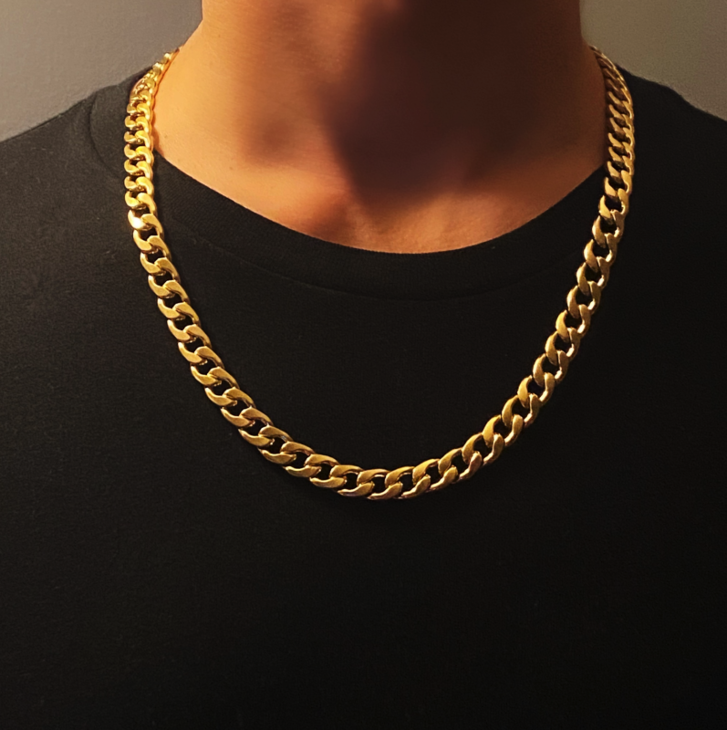 Mens Gold Necklace Chain – Stainless Steel Curb Style, 9mm Width – Gold CubanX©