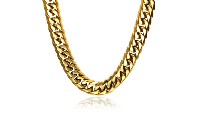 Mens Gold Chain Necklace – Stainless Steel Double Curb Style, 12mm Width – Heat©