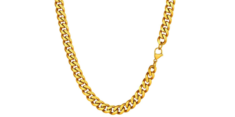 Mens Gold Chain Necklace – Stainless Steel Curb Style, 10mm Width – Lava II©
