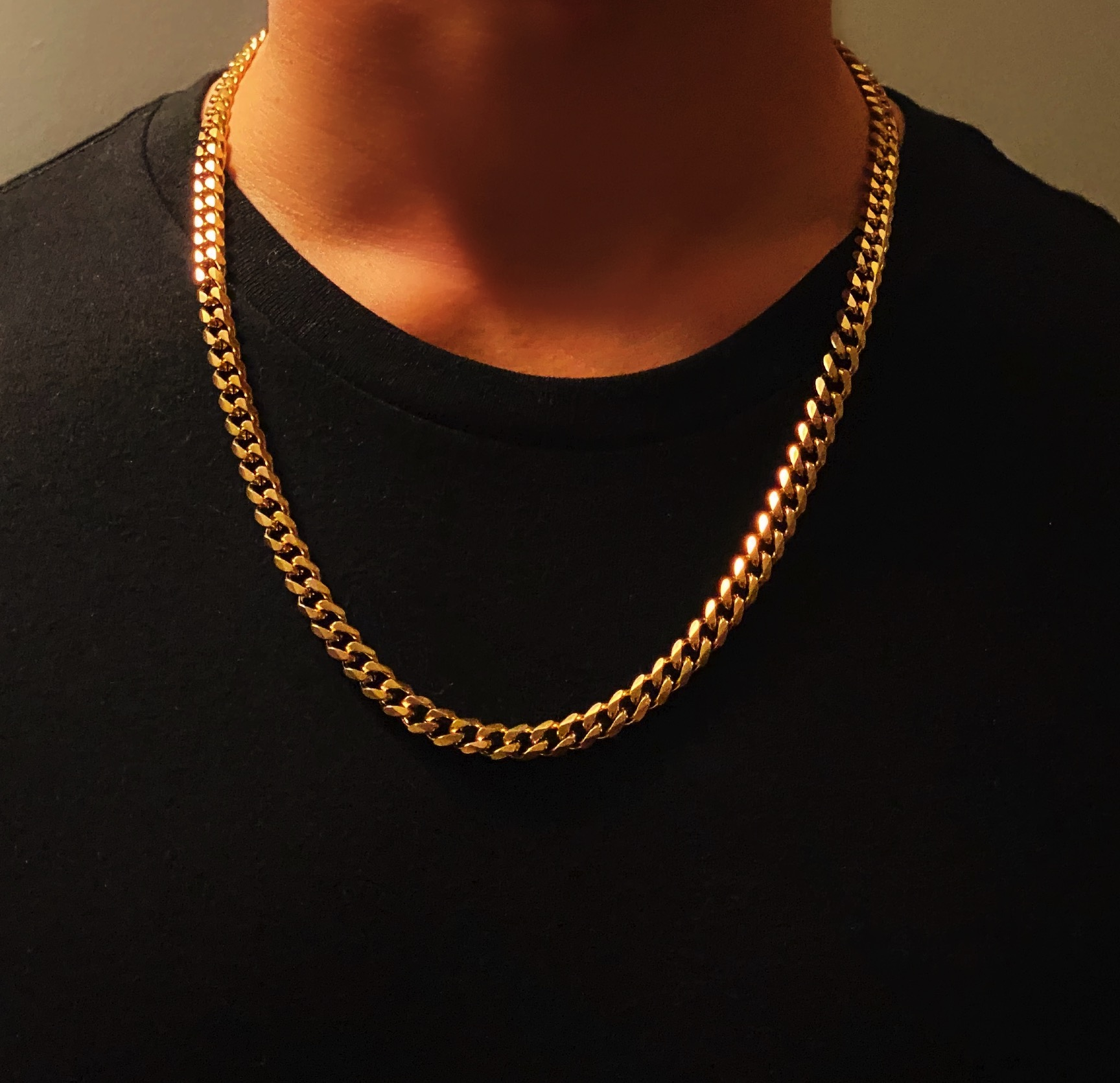 Men's Gold Necklace Chain Curb Style, 7mm Width – Lava©