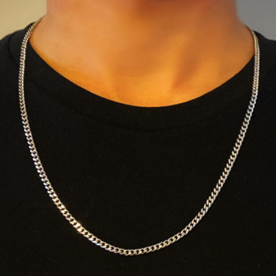 Mens Thin Silver Necklace - 4mm Width