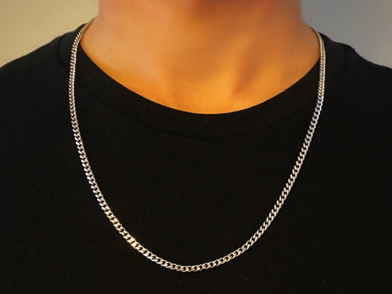 Mens Silver Chain Necklace – Stainless Steel Curb Style, 4mm Width – Thin ice©
