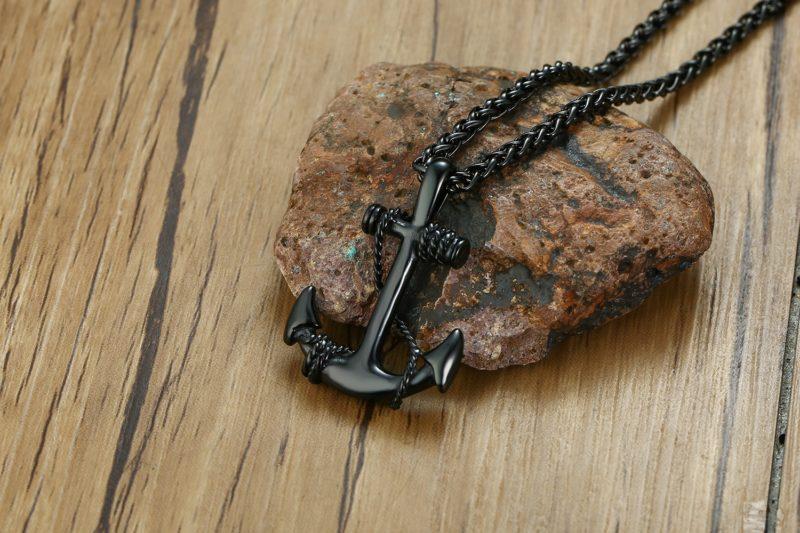 Anchor Necklace Black
