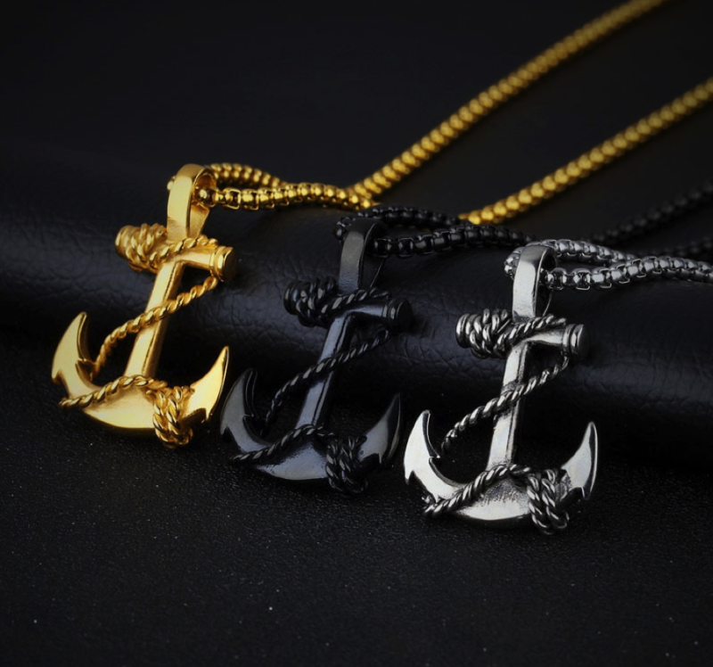 Mens Pendant Necklace Chain – Gold/Black/Silver – Anchor©