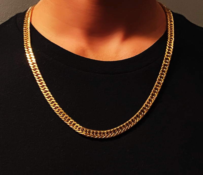 Mens Gold Plated Necklace Chain – 7.5mm Width – Gold Deluxe©