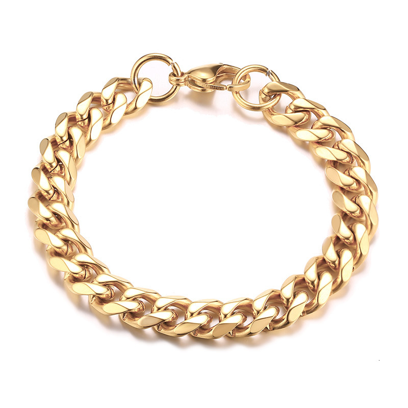 Mens Gold Plated Bracelet Curb Style, 7mm Width – Lava©