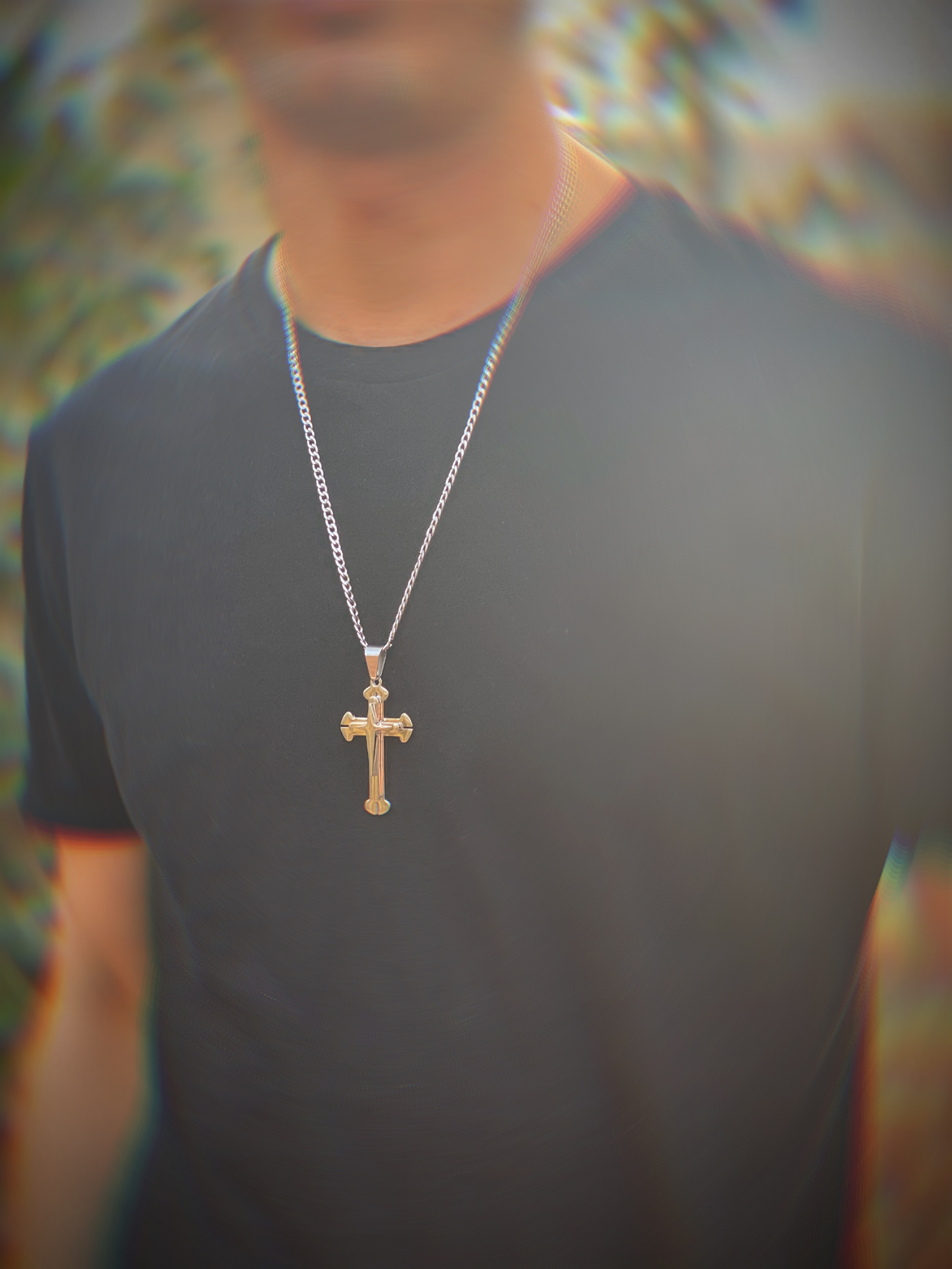 Christ Cross Pendant Necklace – Silver, Gold, Black – X©