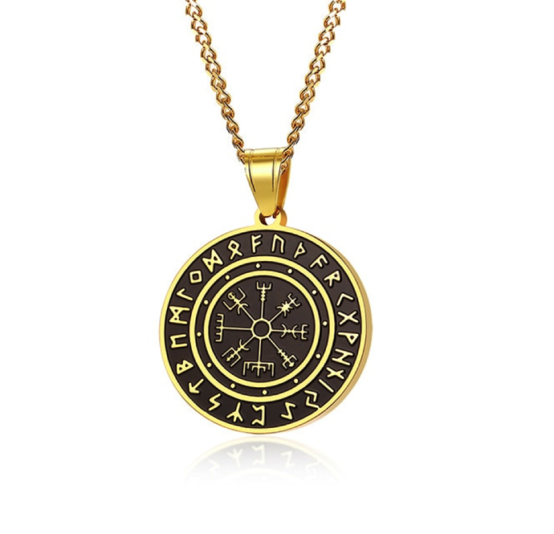 Men's Pendant Necklace – Black & Gold – Seven Archangels©