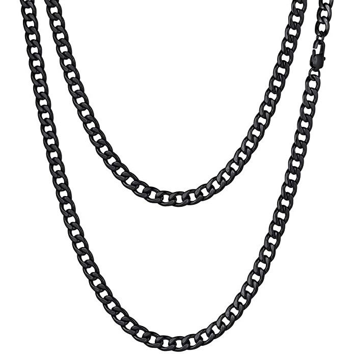 Mens Black Necklace Chain – Stainless Steel Curb Style, 7mm Width – Black CubanSlim©