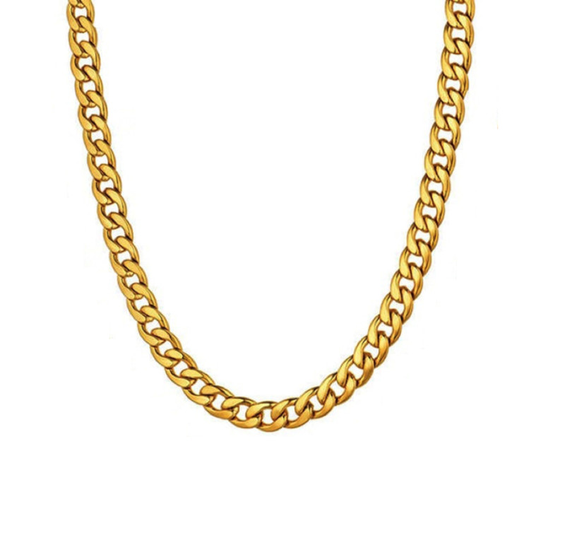 Mens Gold Necklace Chain – Stainless Steel Curb Style, 7mm Width – Gold CubanSlim©
