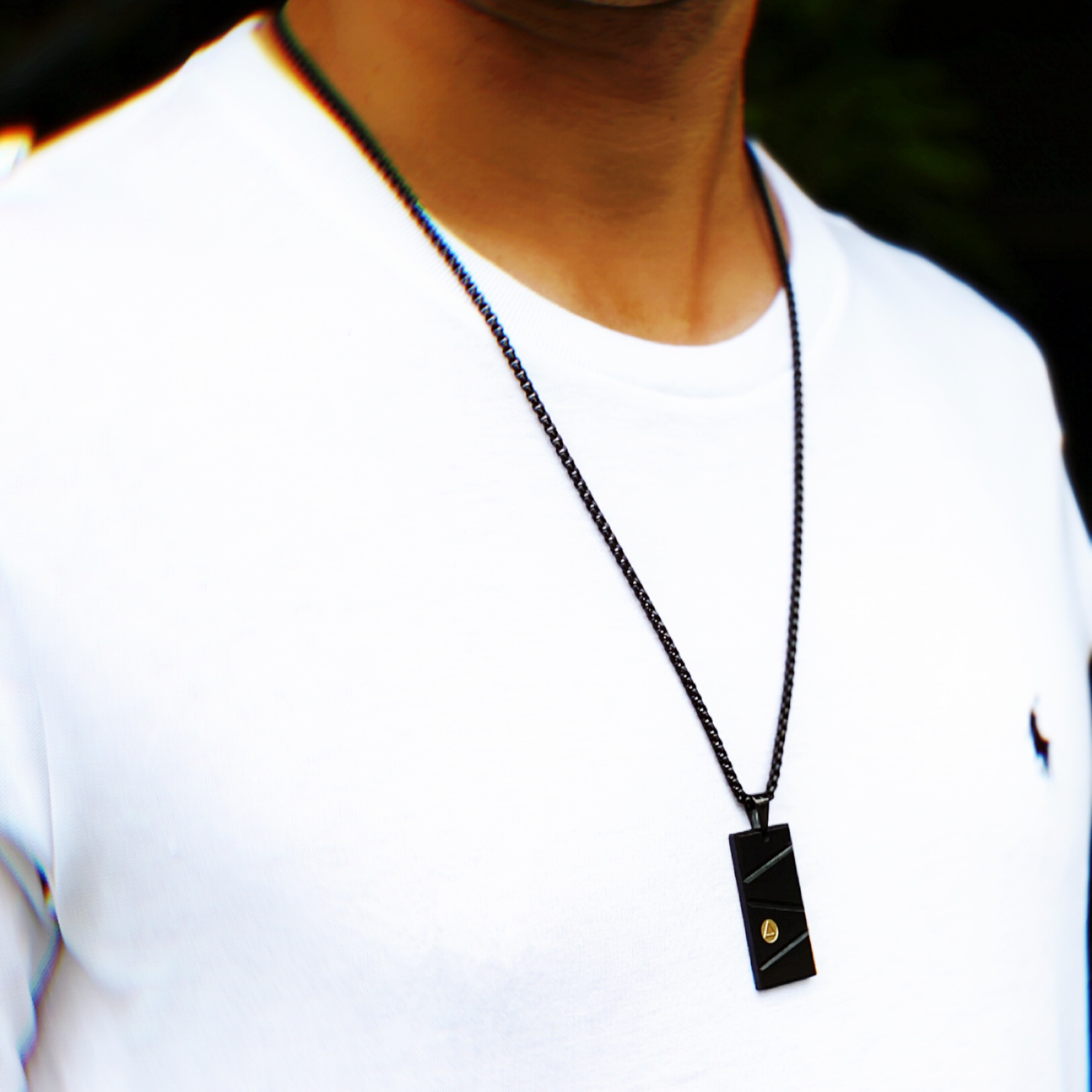 Men's Black & Gold Prizm Pendant Necklace – Black & Gold Prizm©