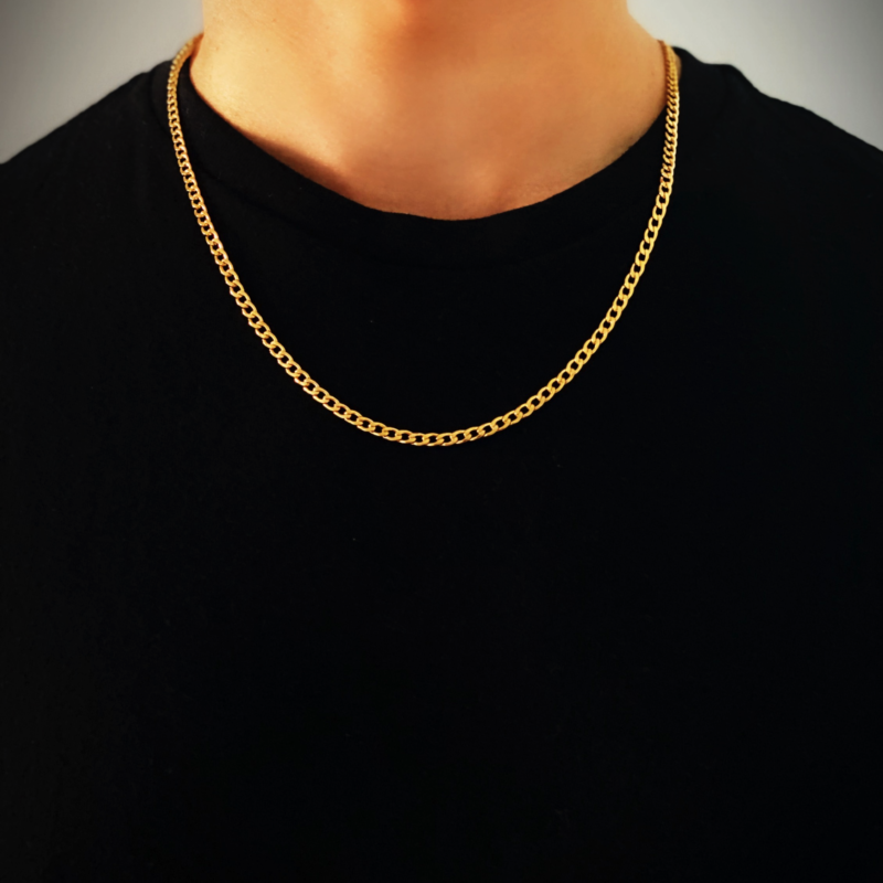 Mens Gold Necklace Chain – Stainless Steel Curb Style, 4mm Width – CubanSkinny©
