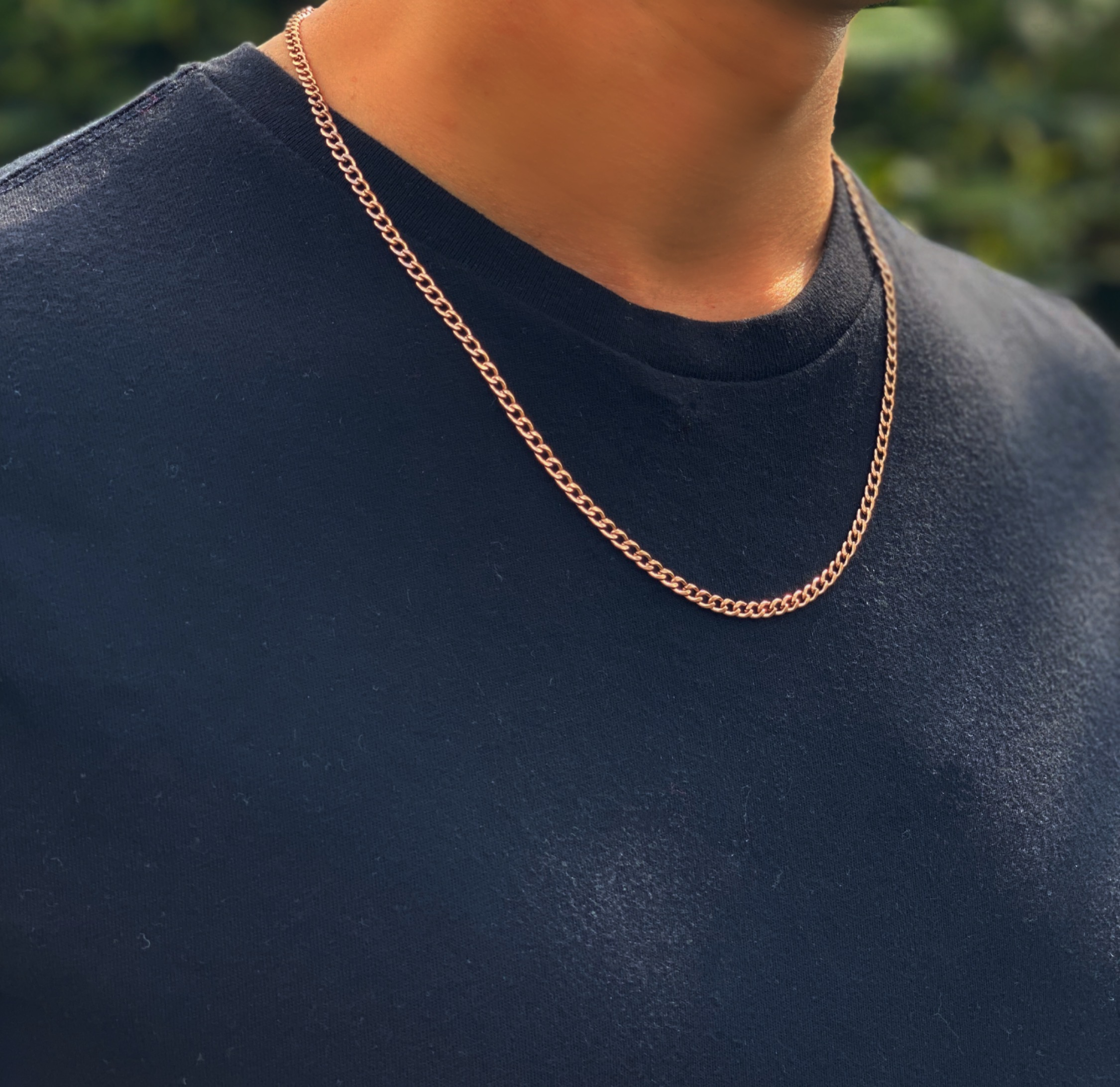 Mens Rose Gold Necklace Chain – Stainless Steel Curb Style, 4mm Width – CubanSkinny©