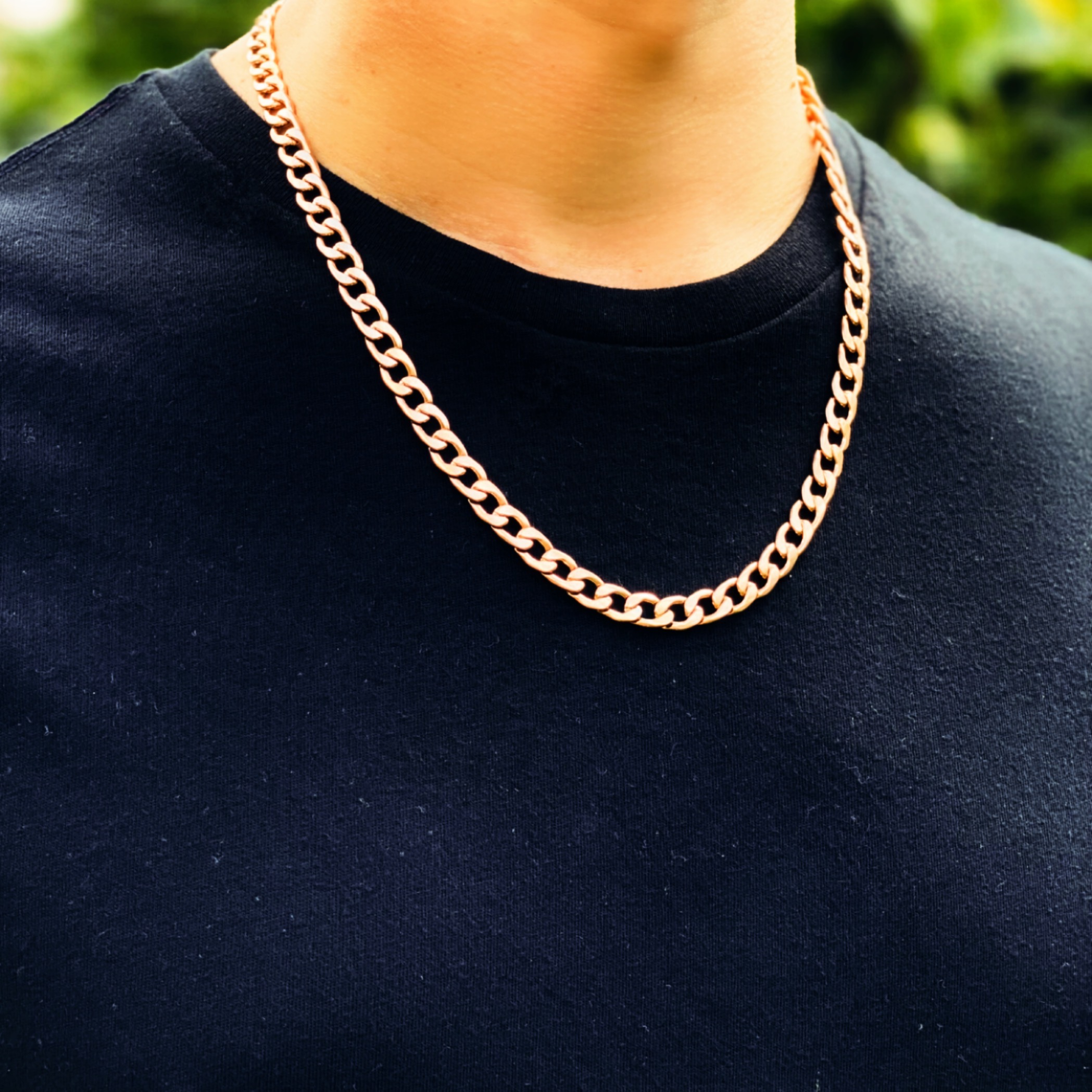 Mens Rose Gold Necklace Chain – Stainless Steel Curb Style, 7mm Width – CubanSlim©