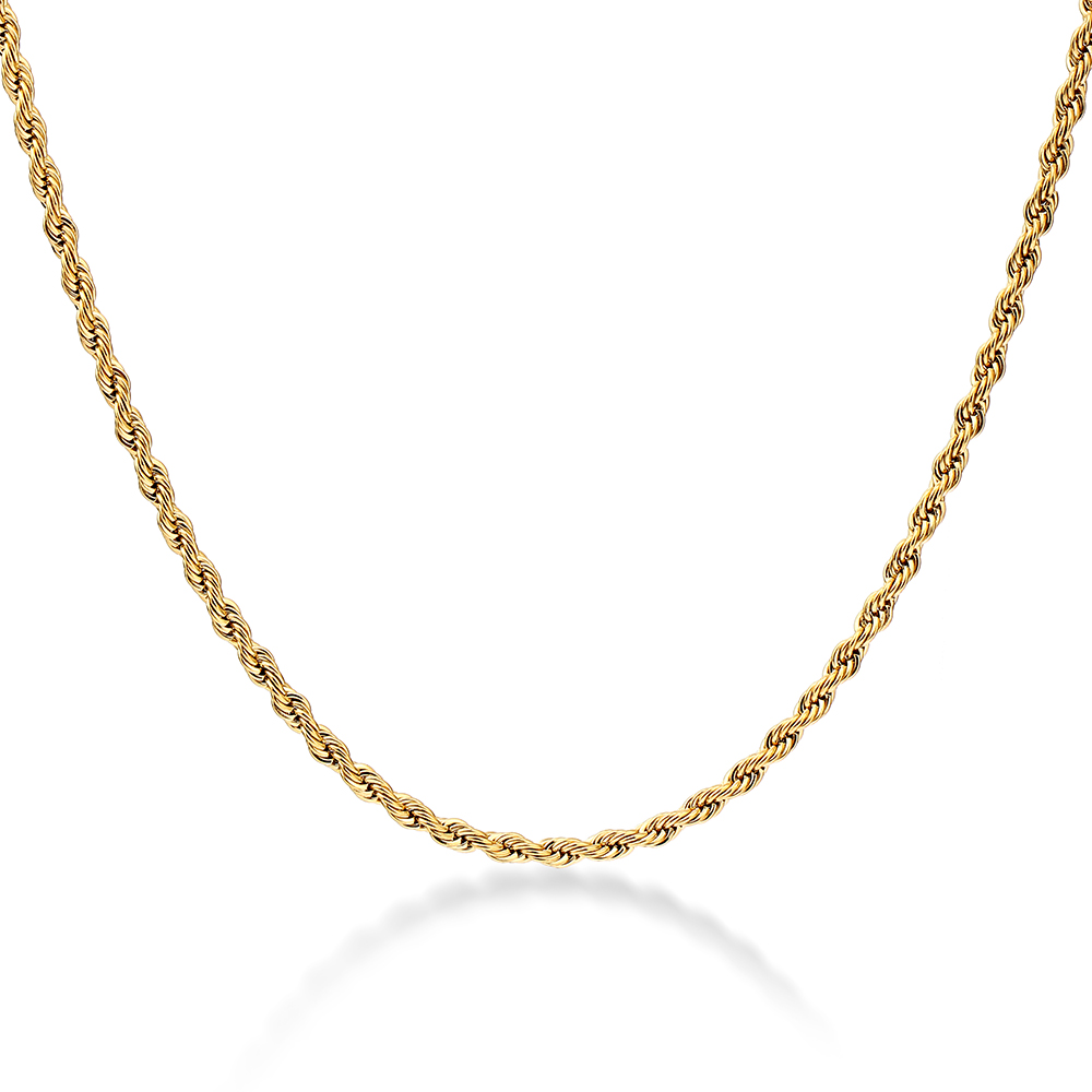 Mens Gold Twisted Rope Chain Necklace – Stainless Steel, 3mm Width – Rope©