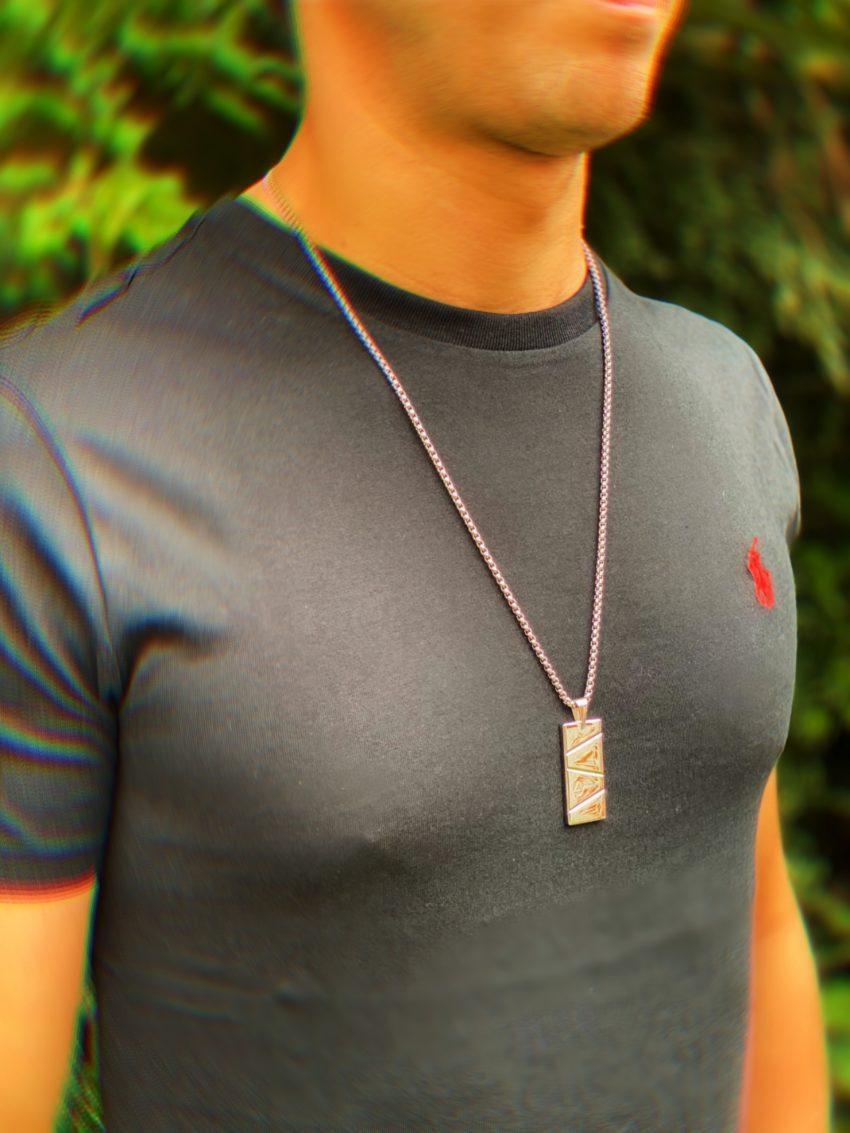Mens Pendant Necklace Silver