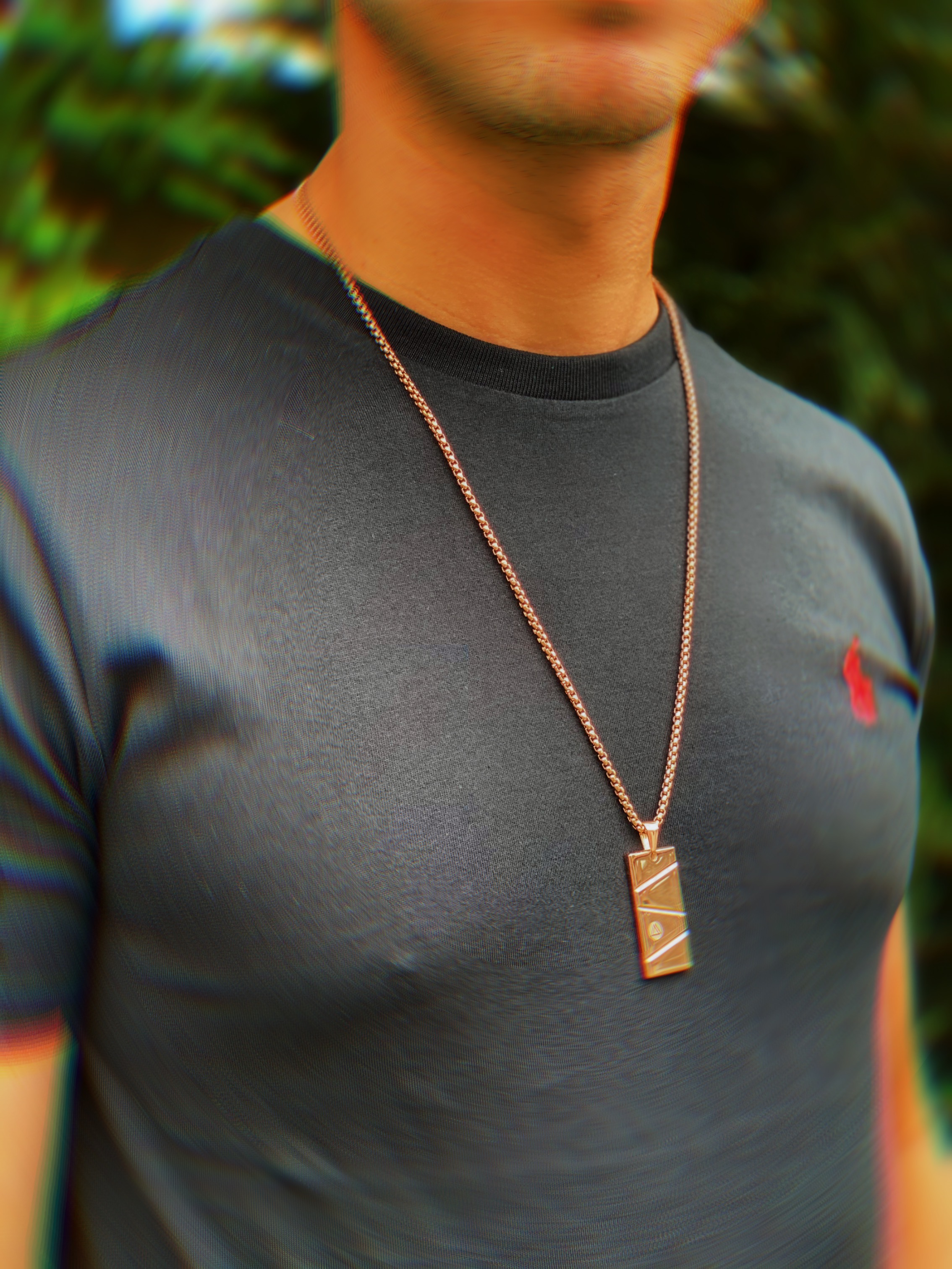 Mens Pendant Necklace Rose Gold