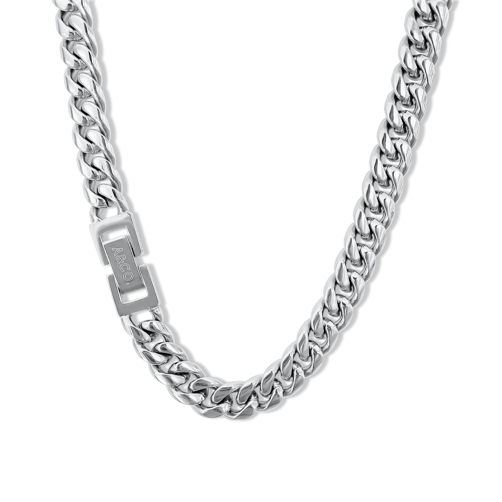 Silver Chain Necklace – Cuban Style, 8mm Width – Miami©