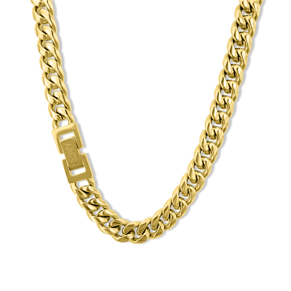 Gold Chain Necklace – Cuban Style, 8mm Width – Miami©