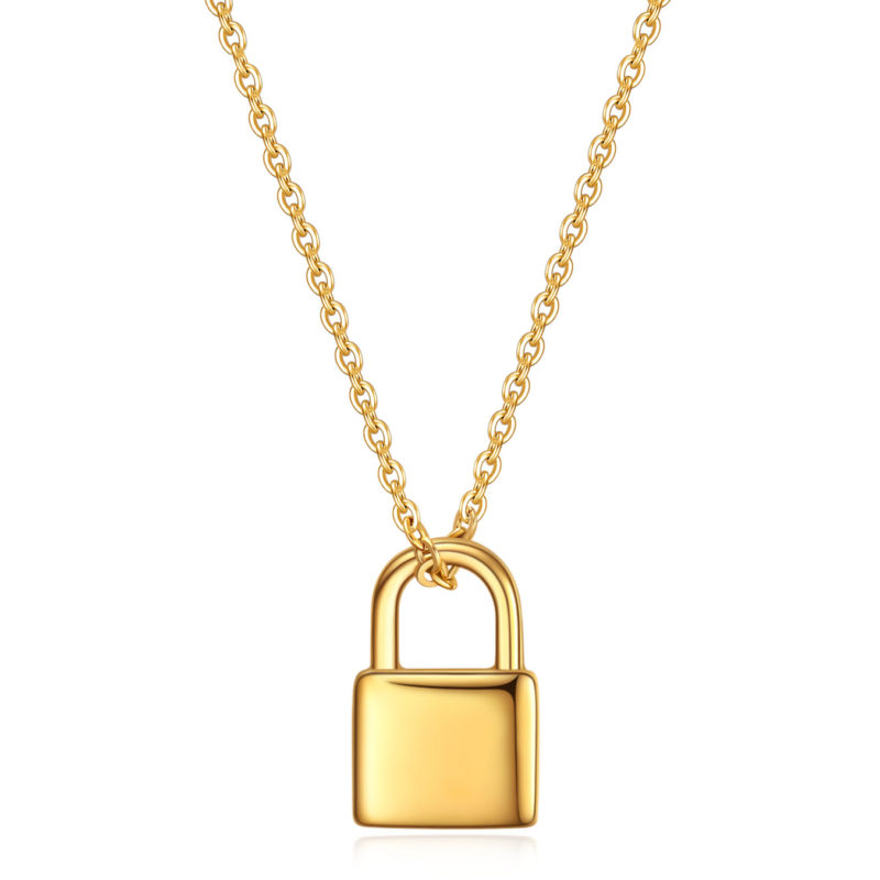 Gold Padlock Necklace.