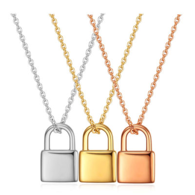 Silver Gold Rose Gold Padlock Necklace