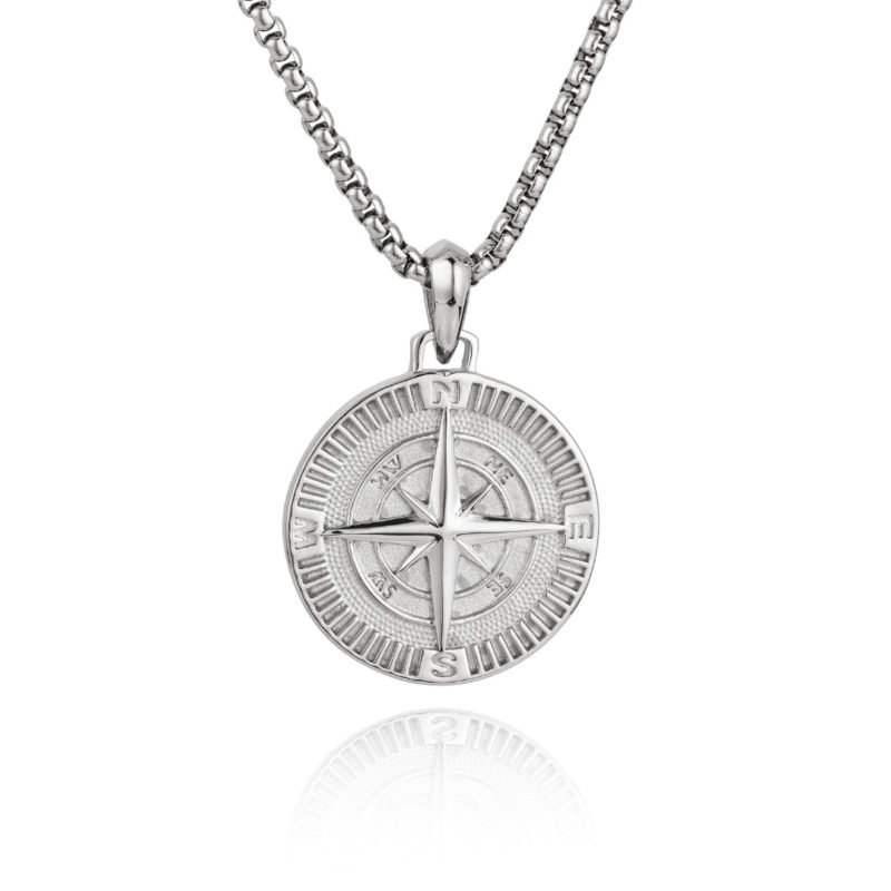 Compass Necklace Silver