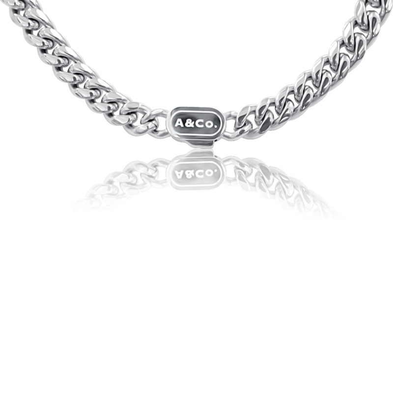 Silver Chain Necklace Cuban