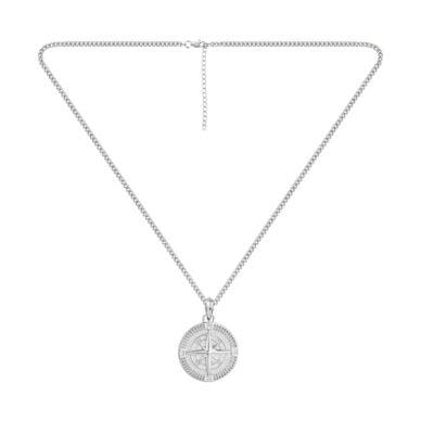 Compass Pendant Necklace Silver