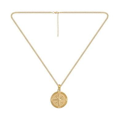 Compass Pendant Necklace Gold