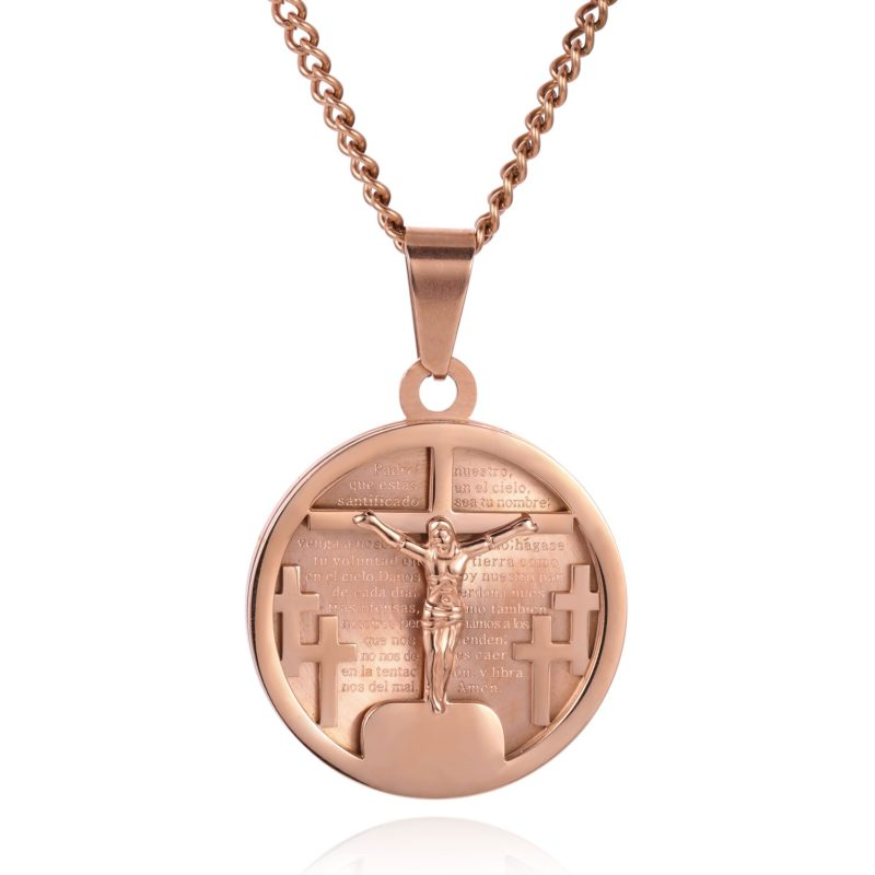 CRUCIFIX NECKLACE ROSE GOLD