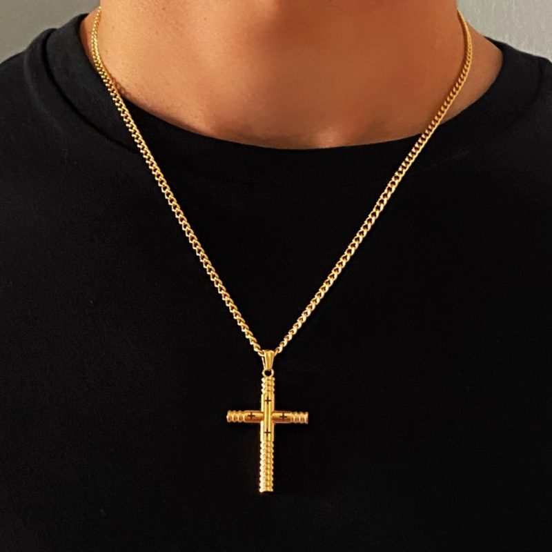 MENS GOLD CROSS NECKLACE
