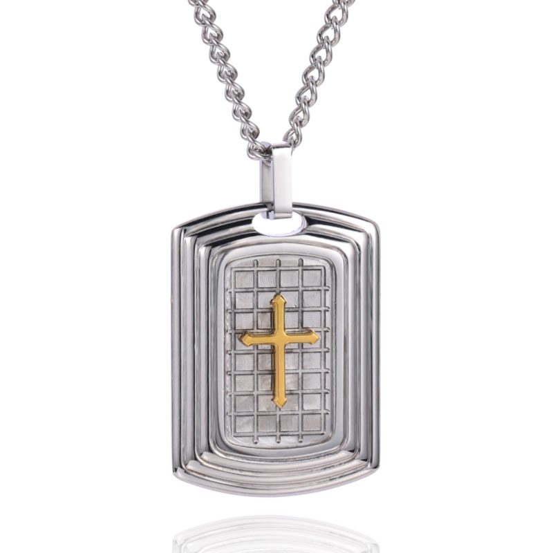CRUCIFIX NECKLACE SILVER & GOLD