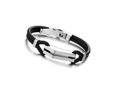 Black-Rubber-Bracelet-with-Stainless-Steel-Buckle-Alfred-Co-Jewellery-Box-B017QJZ1PQ