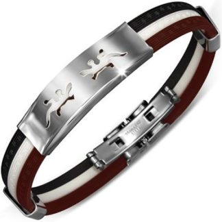 Black-White-Brown-Rubber-Mens-Bracelet-with-Cut-out-Stainless-Steel-Double-Lizard-Design-with-Alfred-Co-Jewellery-Box-B00GYFOPMY