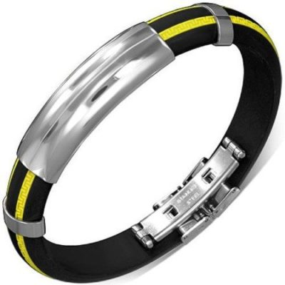 Black-Yellow-Rubber-Mens-Bracelet-with-Stainless-Steel-Clasp-Mens-Bracelet-with-Alfred-Co-Jewellery-Box-B00GYFOP10