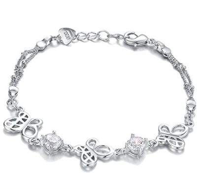 Elegant-Ladies-Silver-Butterfly-Bracelet-with-Alfred-Co-Jewellery-Box-8-inches-Length-B00PNPTDXC