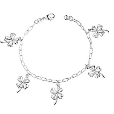 Elegant-Ladies-Silver-Four-Leaf-Clover-Bracelet-with-Alfred-Co-Jewellery-Box-8-inches-Length-B00PNPTB2K