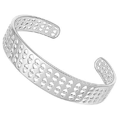 Ladies-Silver-Love-Heart-Cuff-Bangle-B00ML6H6VC