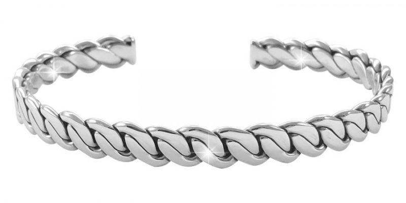 Sterling Silver Bangle Bracelet Geometric Style