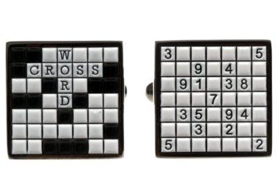 Mens-Black-White-Crossword-Novelty-Cufflinks-with-Alfred-Co-Jewellery-Box-B00IC27CKE