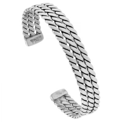Mens-Silver-Triple-Rope-Cuff-Bangle-with-Alfred-Co-Jewellery-Box-B00U437NNK