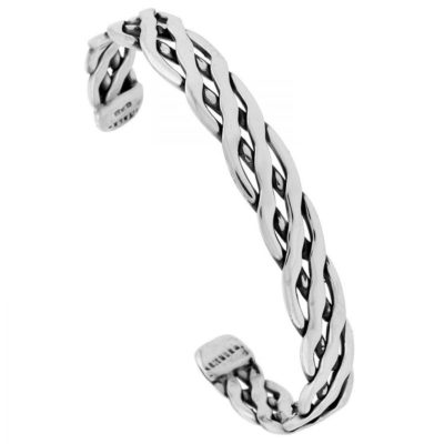 Mens-Sterling-Silver-Bangle-with-Braided-Rope-Design-Alfred-Co-Jewellery-Box-B00NBANBU2