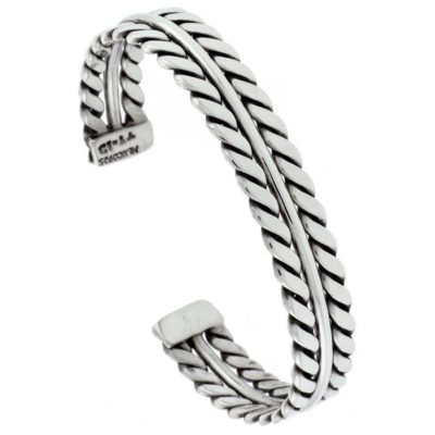 Mens-Sterling-Silver-Bangle-with-Double-Rope-Design-Alfred-Co-Jewellery-Box-B00NBAN9FY