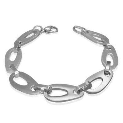 Silver-Stainless-Steel-Geometric-Tear-Drop-Oval-Link-Mens-Bracelet-with-Alfred-Co-Jewellery-Box-21-cm-827-inch-B00GYFOKHO