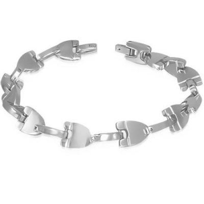 Silver-Stainless-Steel-Geometric-Triangle-Link-Mens-Bracelet-with-Alfred-Co-Jewellery-Box-22-cm-866-inch-B00GYFOLDM