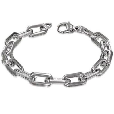 Silver-Stainless-Steel-Lobster-Clasp-Flat-Oval-Link-Chain-Mens-Bracelet-with-Alfred-Co-Jewellery-Box-21-cm-827-inch-B00HGIAMGG