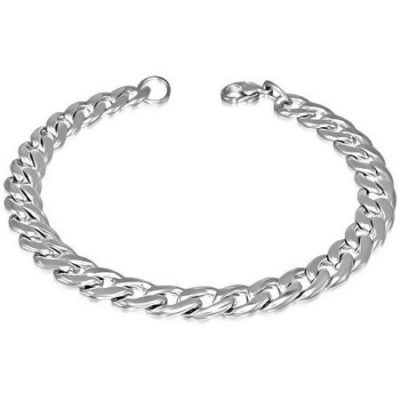 Silver-Stainless-Steel-Lobster-clasp-Closure-Curb-Cuban-Link-Mens-Bracelet-7mm-wide-with-Alfred-Co-Jewellery-Box-21-cm-827-inch-B00HGIALJO