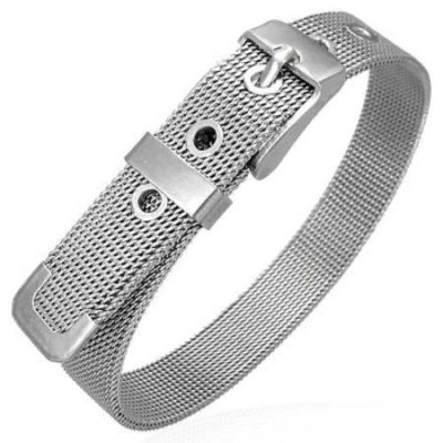 Silver-Stainless-Steel-Mesh-Belt-Buckle-Bracelet-10mm-Wide-with-Alfred-Co-Jewellery-Box-21-cm-827-inch-B00HGIAMZ2