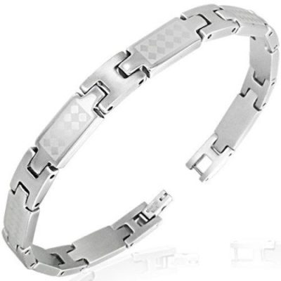 Silver-Stainless-Steel-Silver-Checker-Link-Mens-Bracelet-with-Alfred-Co-Jewellery-Box-21-cm-827-inch-B00HGIAK5O