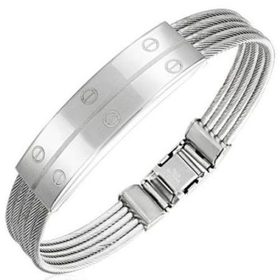 Silver-Stainless-Steel-Silver-Retro-Twisted-Cable-Wire-Mens-Bracelet-with-Alfred-Co-Jewellery-Box-20-cm-788-inch-B00GA9WV4I